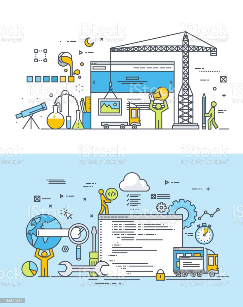 Thin line flat design concepts of website design and development vector art illustration