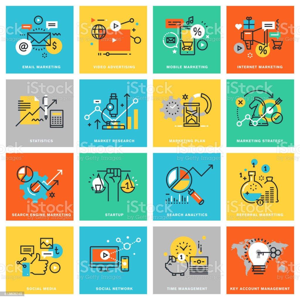 Delgado línea diseño plano iconos de mercadotecnia illustracion libre de derechos libre de derechos