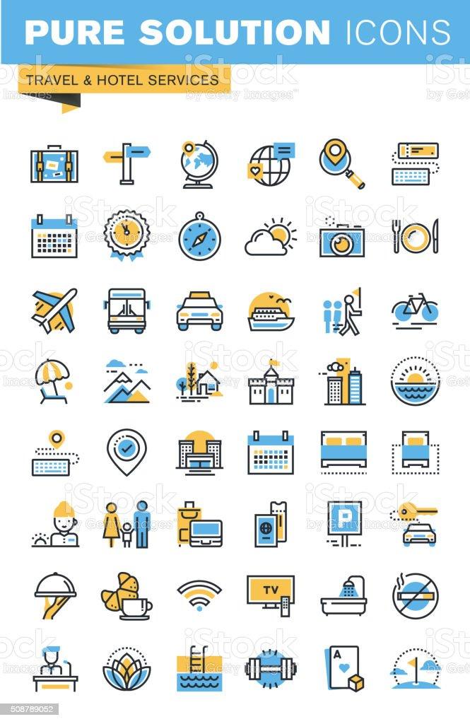 Thin line flat design icons of travel and hotel services vector art illustration