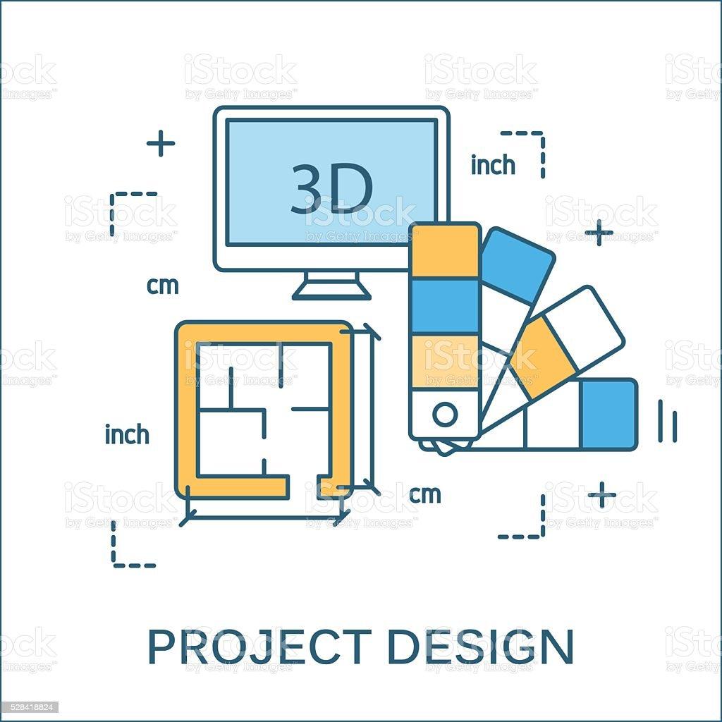 Thin line flat design of construction tools vector art illustration