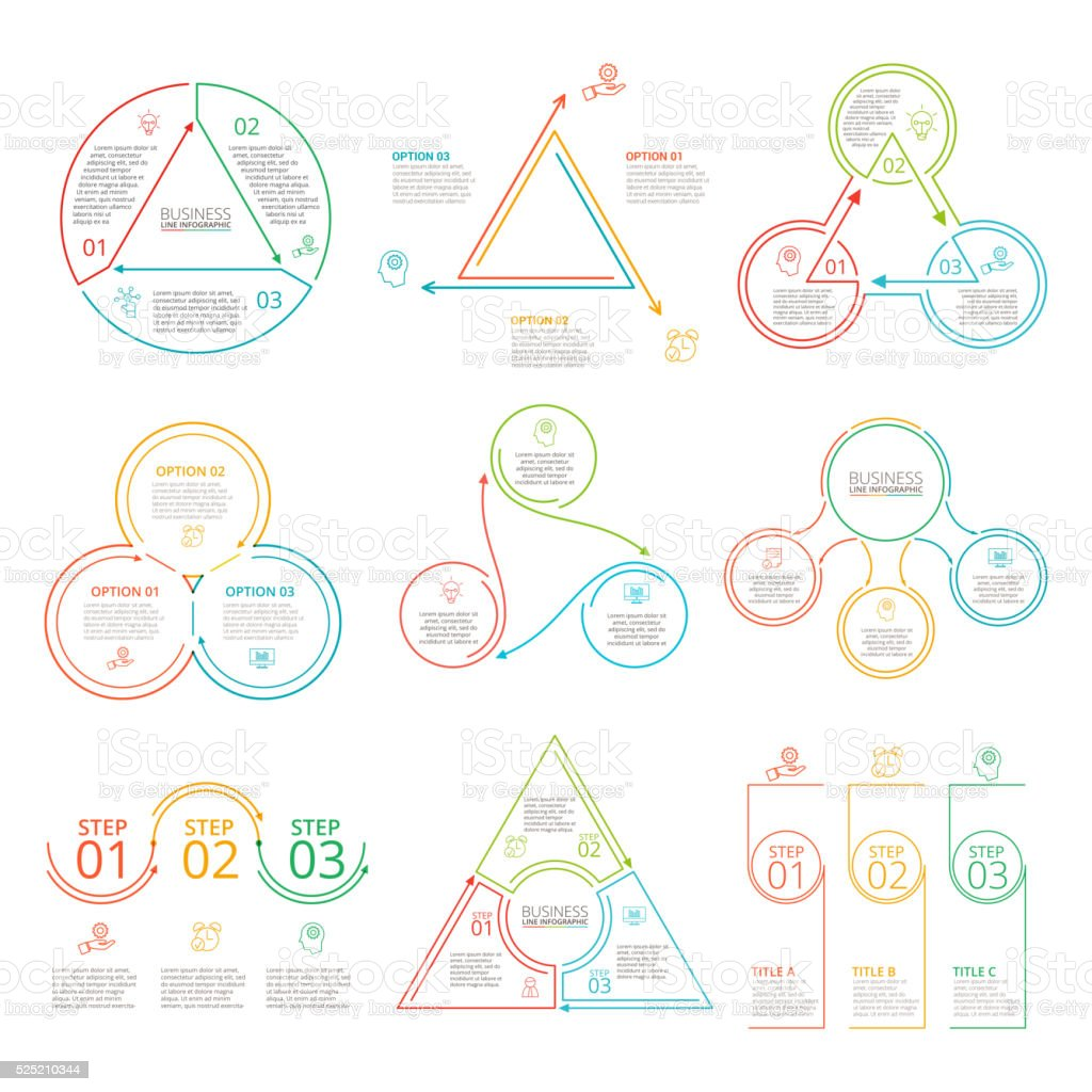 Thin line flat elements set for infographic. vector art illustration