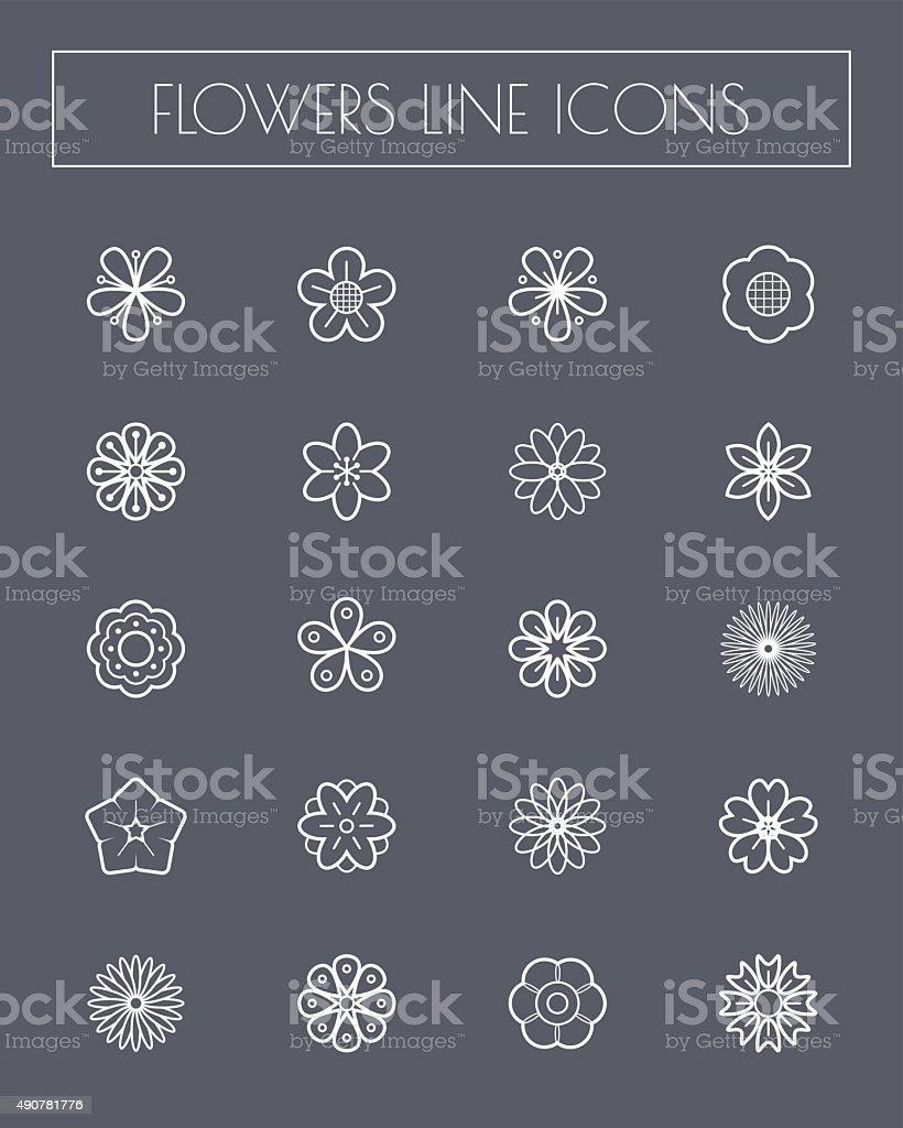 Thin line flower icons set. vector art illustration