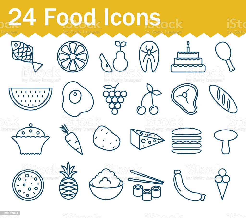 Thin line food icons set. Outline icon collection vector art illustration