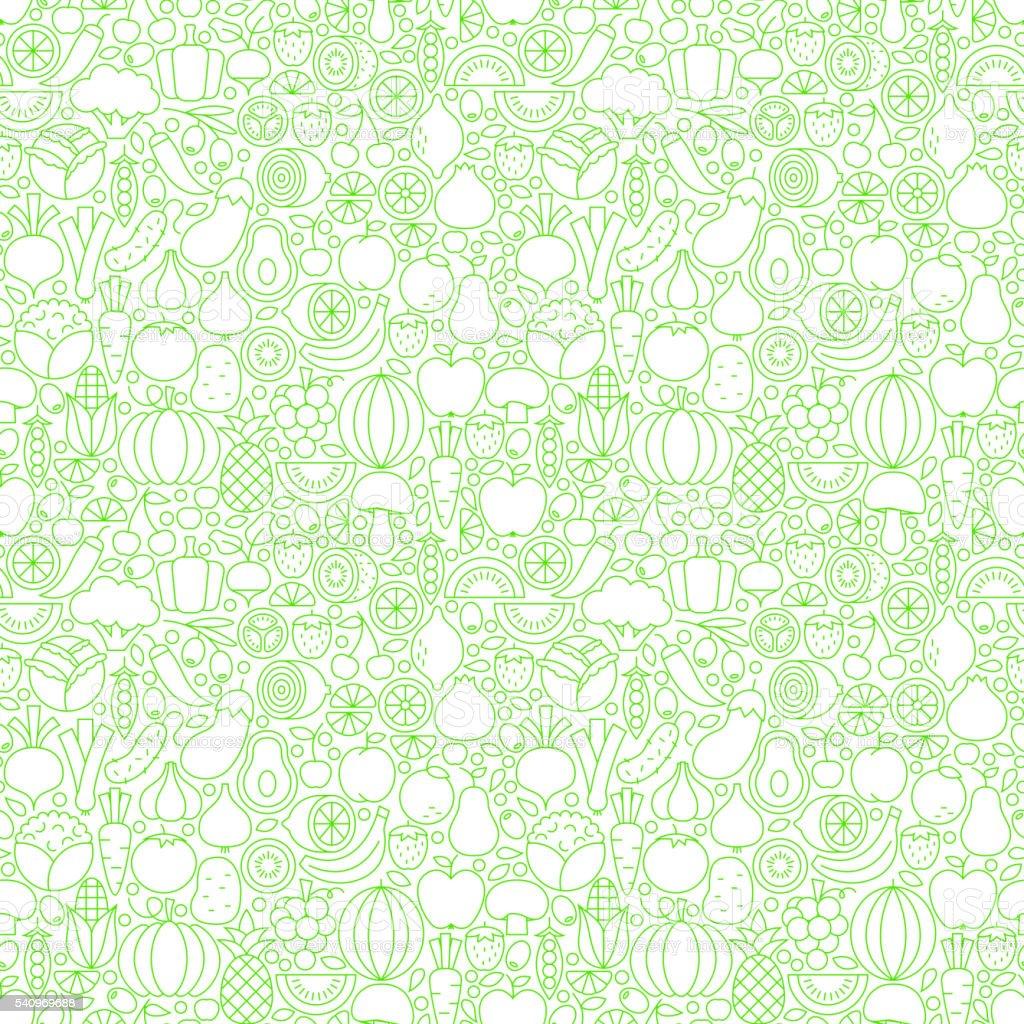 Thin Line Fresh Fruits Vegetables White Seamless Pattern vector art illustration