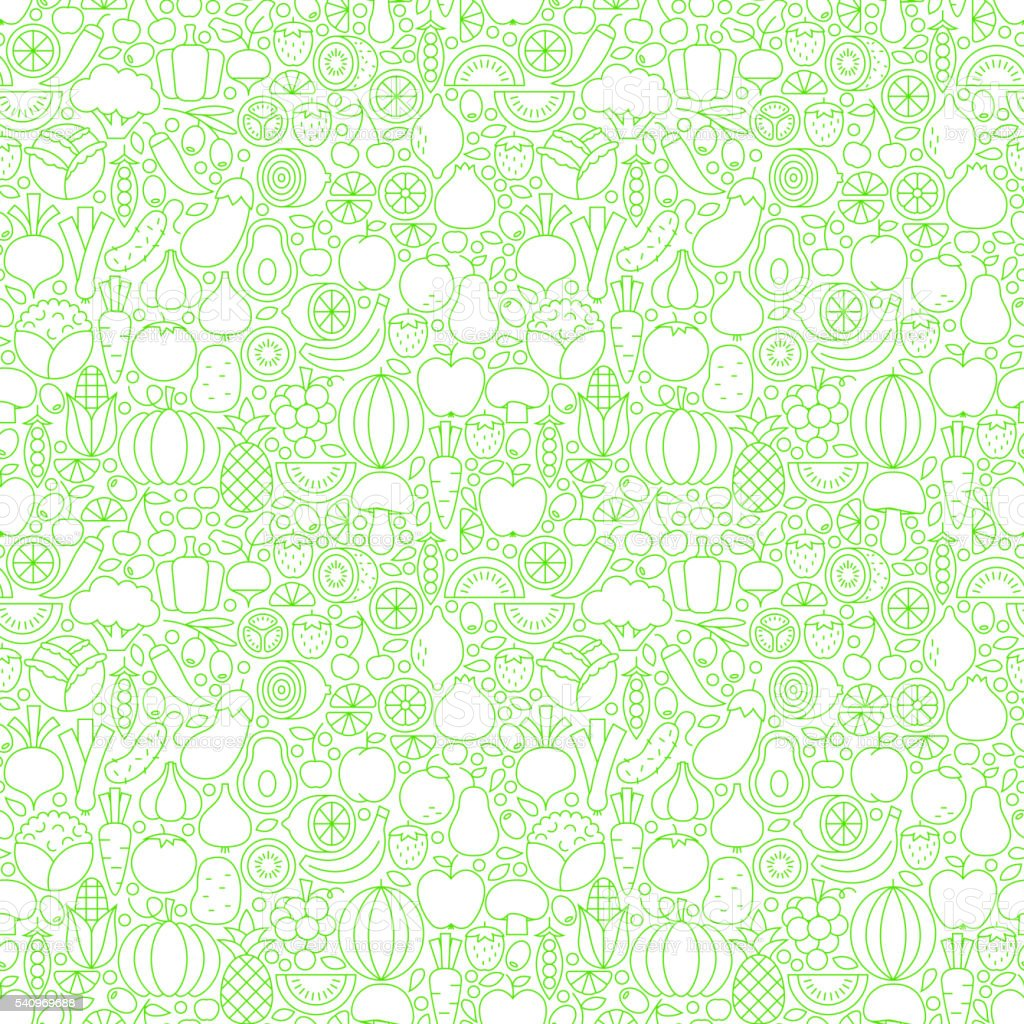 Thin Line Fresh Fruits Vegetables White Seamless Pattern vector art illustration