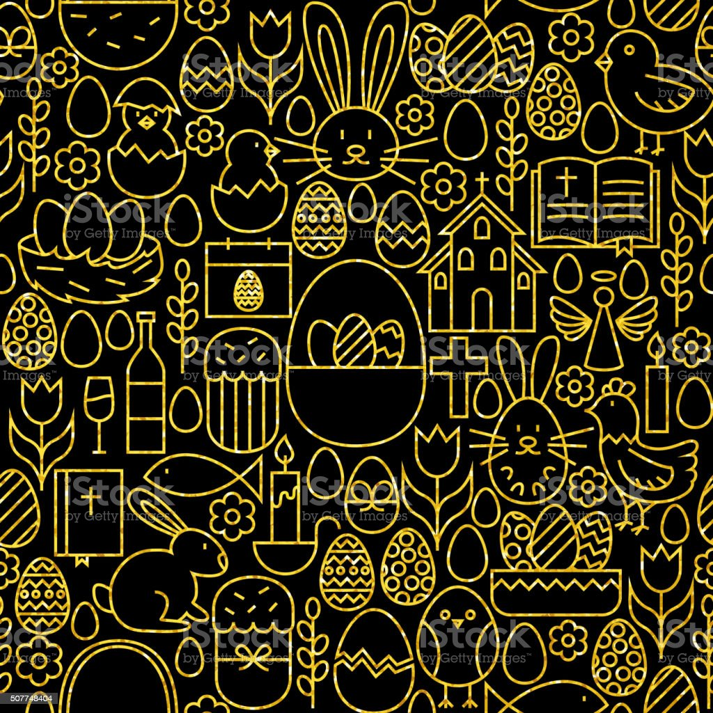 Thin Line Gold Black Happy Easter Seamless Pattern vector art illustration