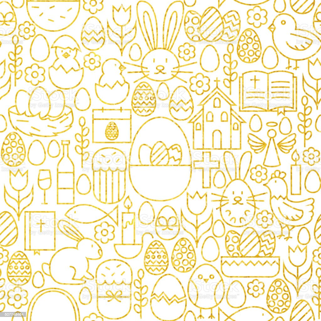 Thin Line Gold Happy Easter Seamless Pattern vector art illustration