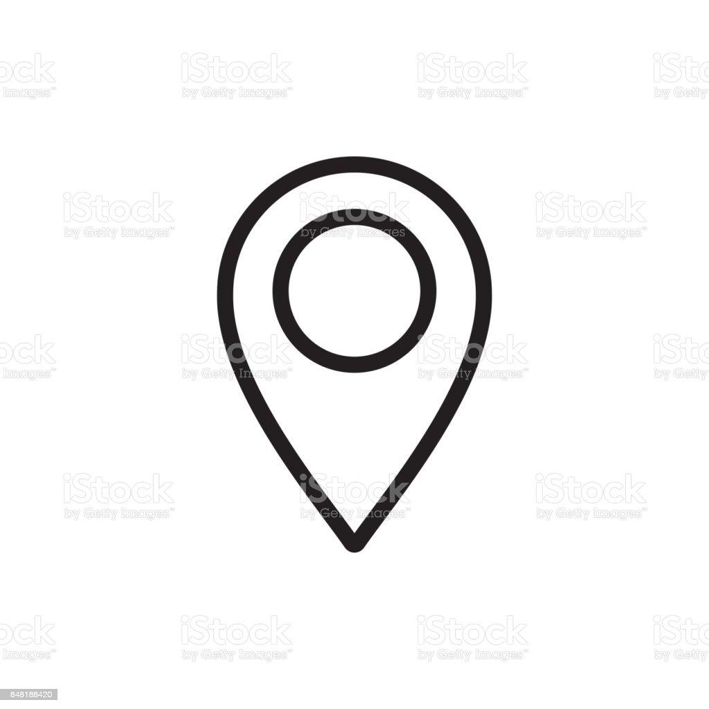 thin line google map, pin point, location icon vector art illustration