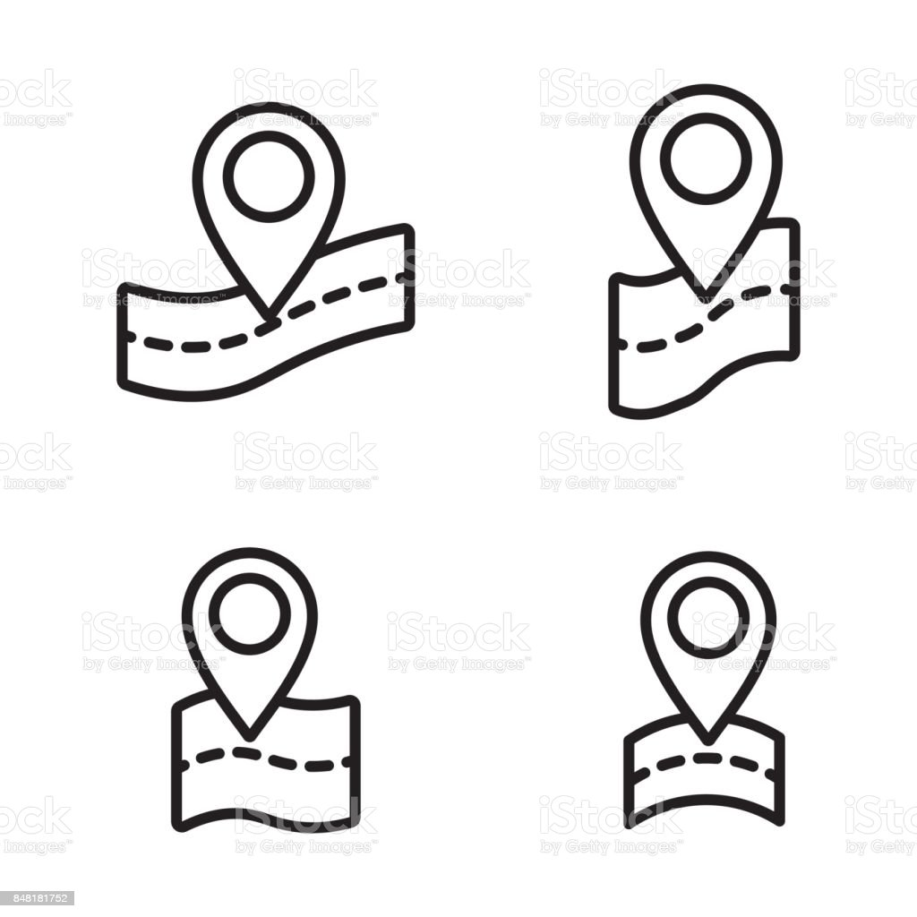 thin line google map, pin point, location icons vector art illustration