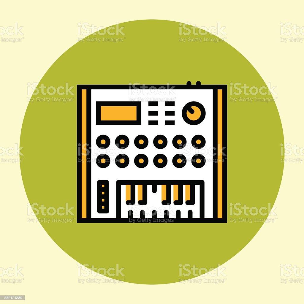 Thin Line Icon. Analog Synthesizer. vector art illustration