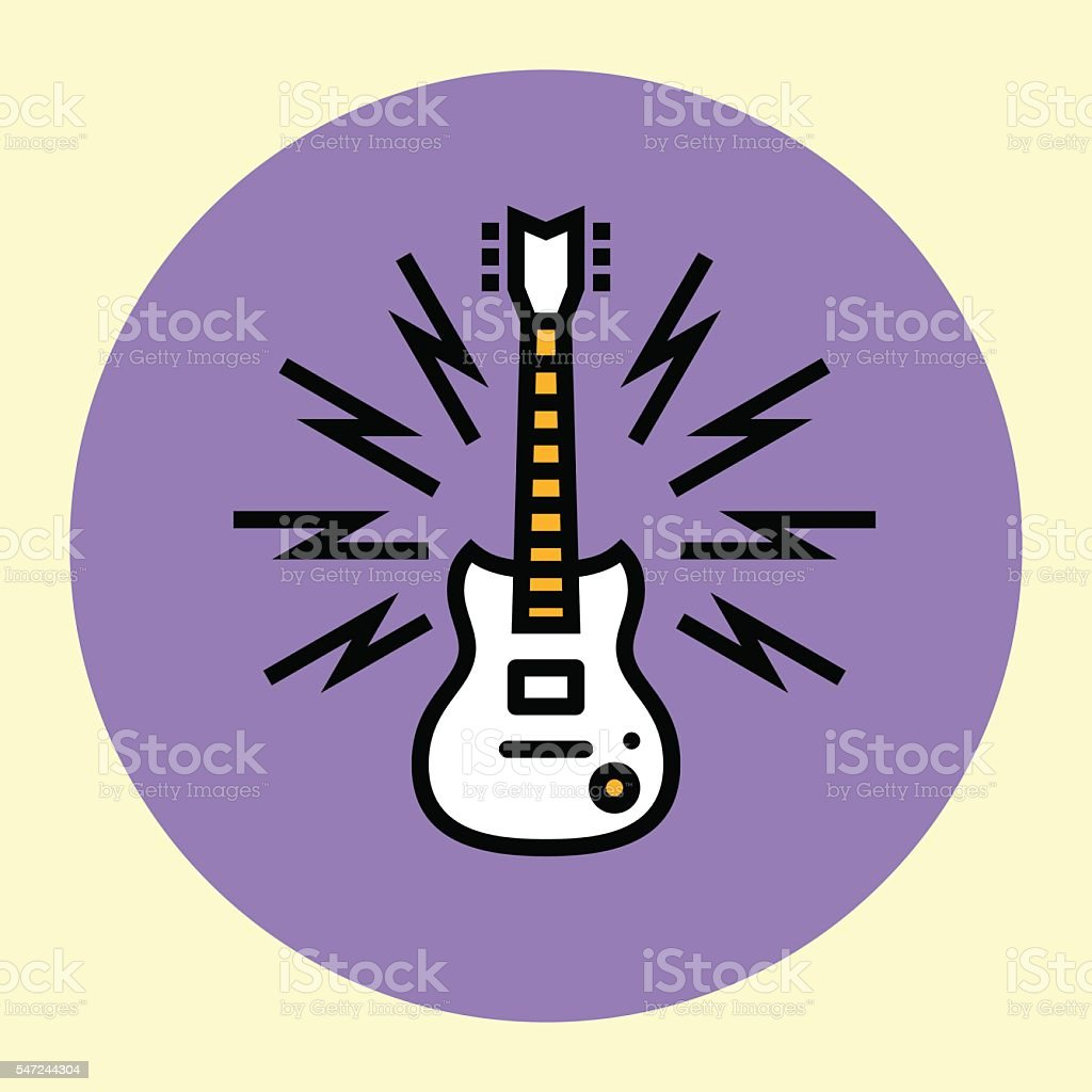 Thin Line Icon. Guitar. vector art illustration