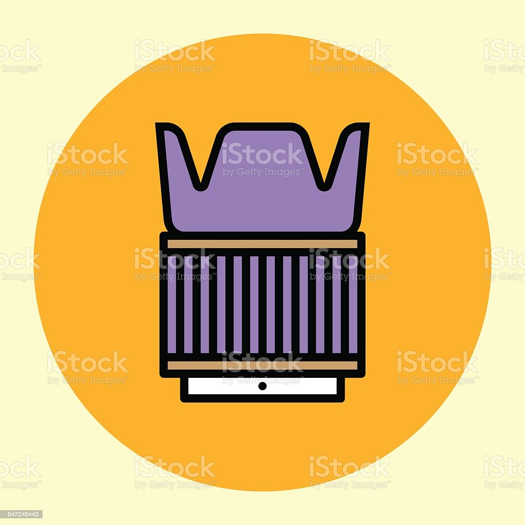 Thin Line Icon. Lens with Hood. vector art illustration