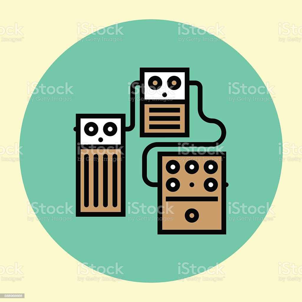 Thin Line Icon. Stompboxes Chain Guitar Pedals. vector art illustration
