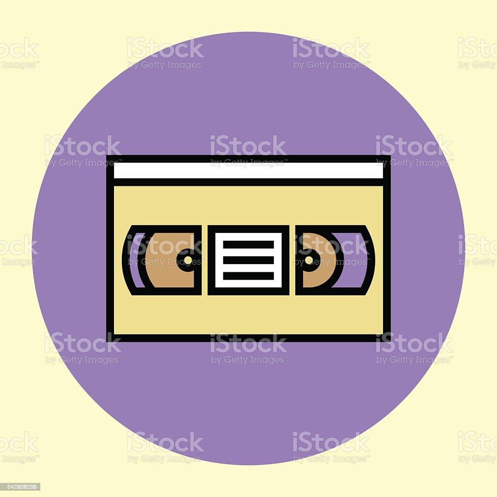 Thin Line Icon. Videotape. vector art illustration