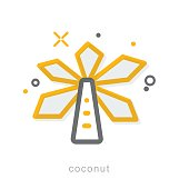 Thin line icons, Coconut