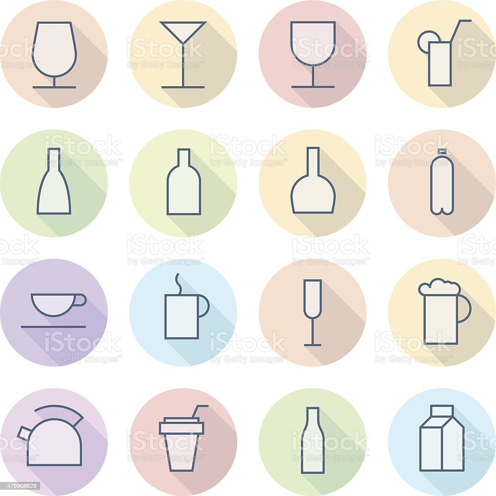 Thin Line Icons For Drinks royalty-free stock vector art