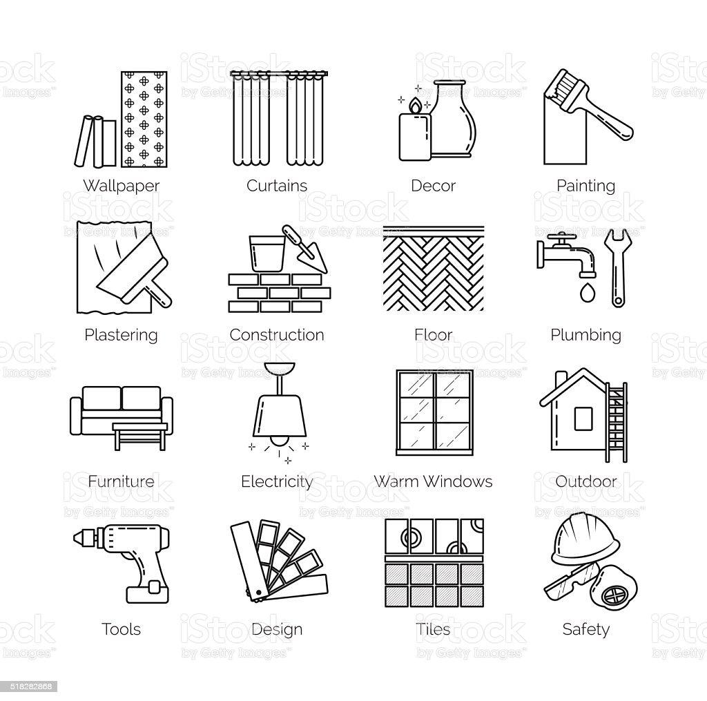 Thin line icons for house design, repair, construction, decoration, renovation vector art illustration