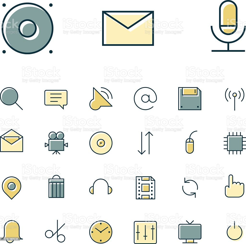 Thin line icons for user interface and technology vector art illustration