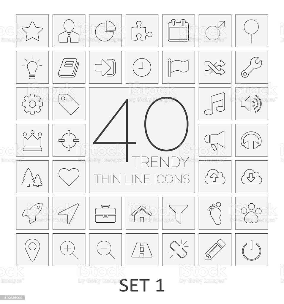 40 Thin Line Icons. Set 1. vector art illustration