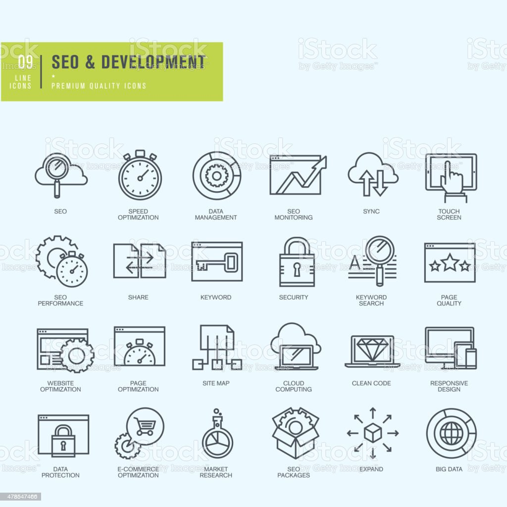 Thin line icons set for web and app development vector art illustration