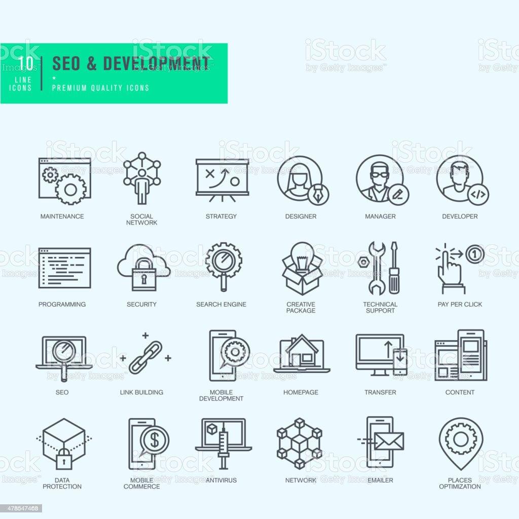 Conjunto de iconos de líneas finas para Web y de desarrollo de aplicaciones illustracion libre de derechos libre de derechos