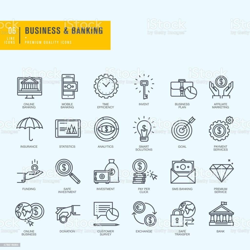 Conjunto de iconos de línea fina. Iconos de negocios, banca, e-banking. illustracion libre de derechos libre de derechos