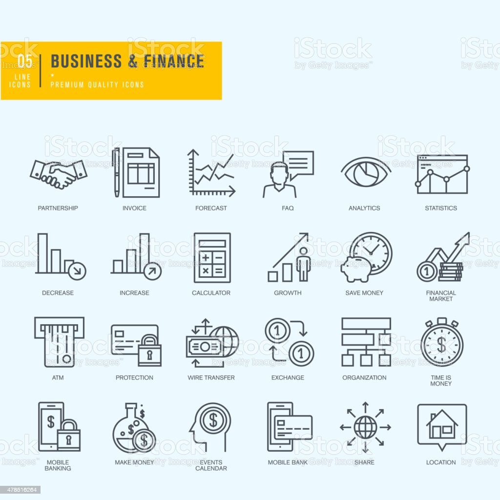 Thin line icons set. Icons for business, finance, m-banking. vector art illustration