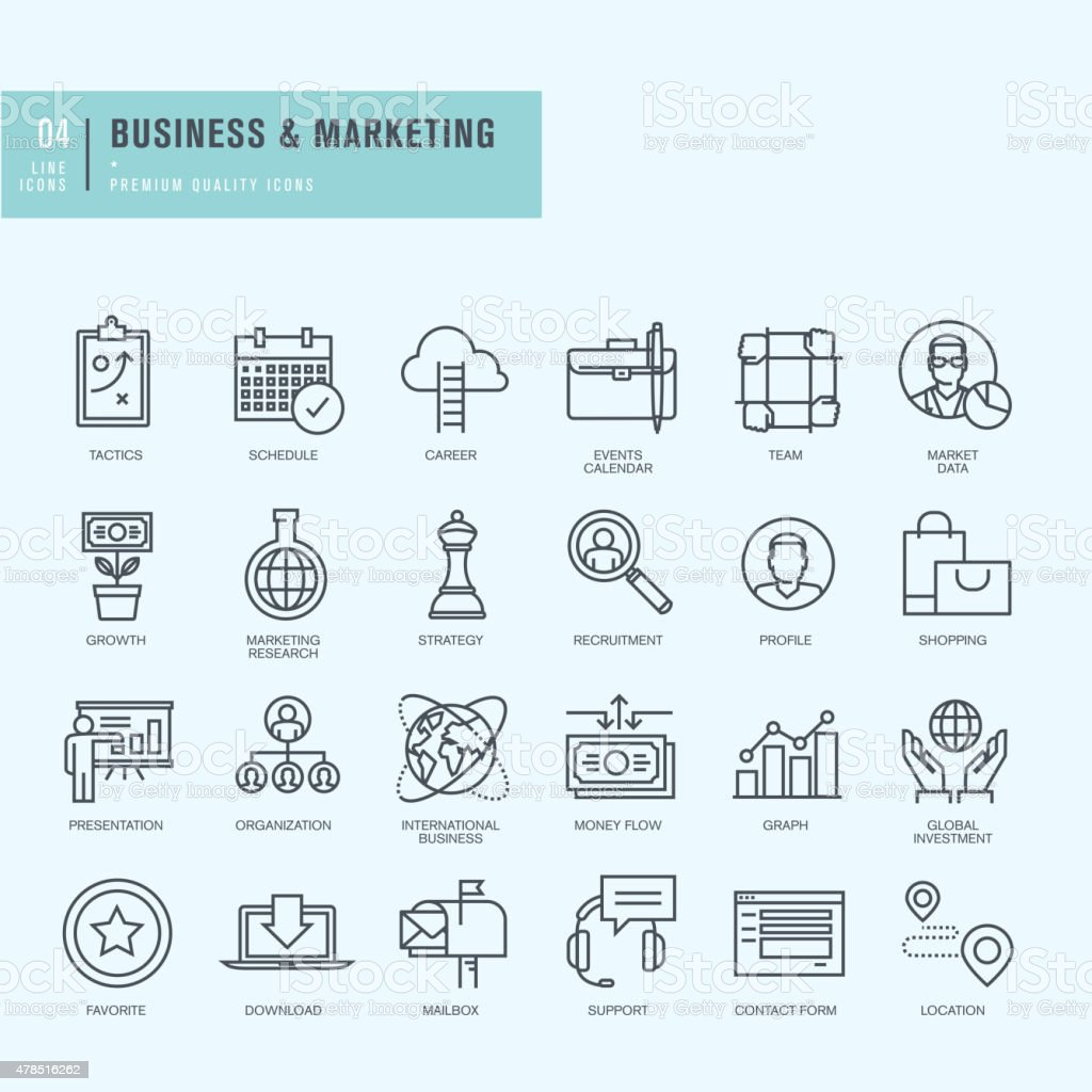 Thin line icons set. Icons for business. vector art illustration