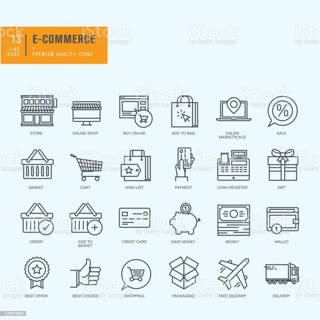 Conjunto de iconos de línea fina. Iconos para el comercio electrónico, compras en línea illustracion libre de derechos libre de derechos