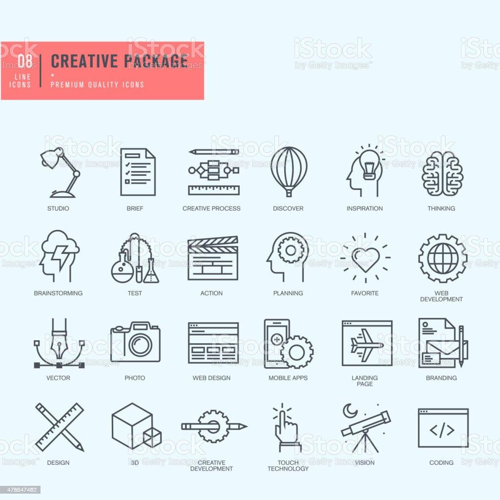 Conjunto de iconos de línea fina. Iconos para diseño web y gráfico. illustracion libre de derechos libre de derechos
