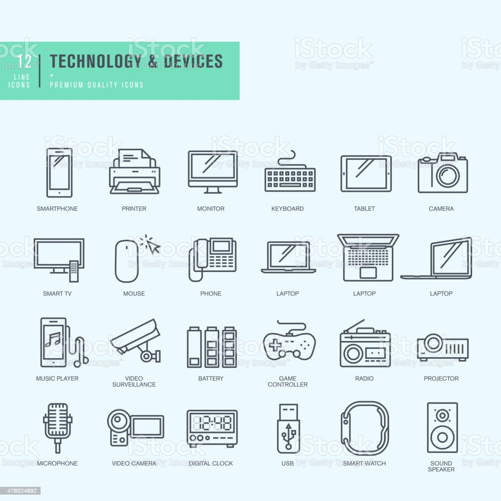Thin line icons set. Icons for technology, electronic devices. vector art illustration