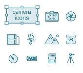 Thin line icons set, Linear symbols set, Camera