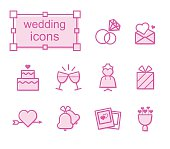 Thin line icons set, Linear symbols set, wedding-1