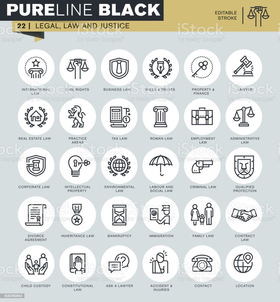 Thin line icons set of legal, law and justice vector art illustration
