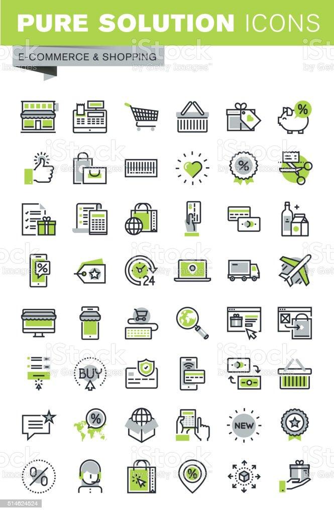 Delgado línea conjunto de iconos de compras en línea illustracion libre de derechos libre de derechos