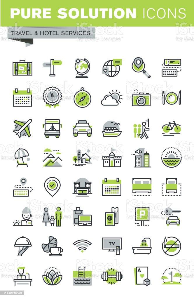 Thin line icons set of travel destination, hotel services vector art illustration