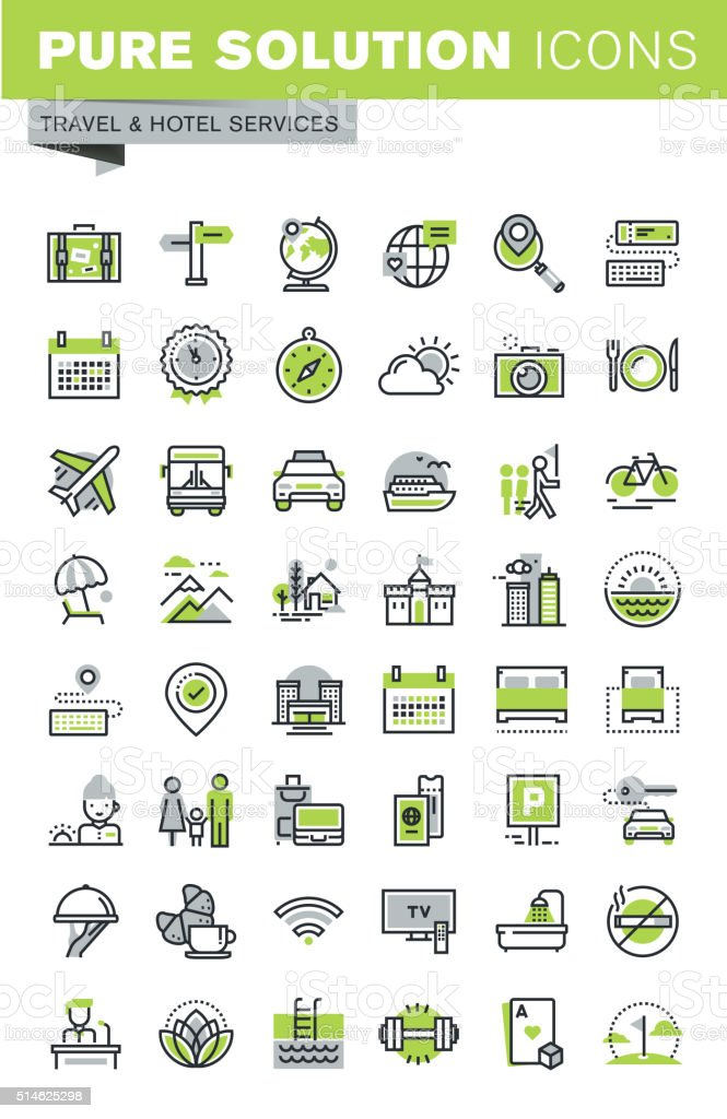 Thin line icons set of travel destination, hotel services vector art illustration