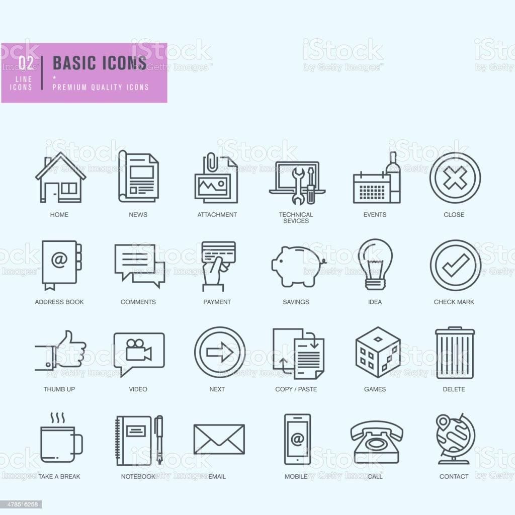 Conjunto de iconos de línea fina. Iconos universales para web y aplicaciones de diseño. Iconos universales para web y aplicaciones de diseño. illustracion libre de derechos libre de derechos