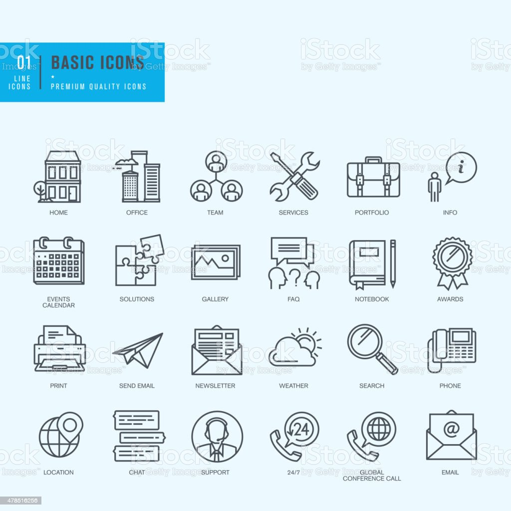 Thin line icons set. Universal icons for website and app design. vector art illustration