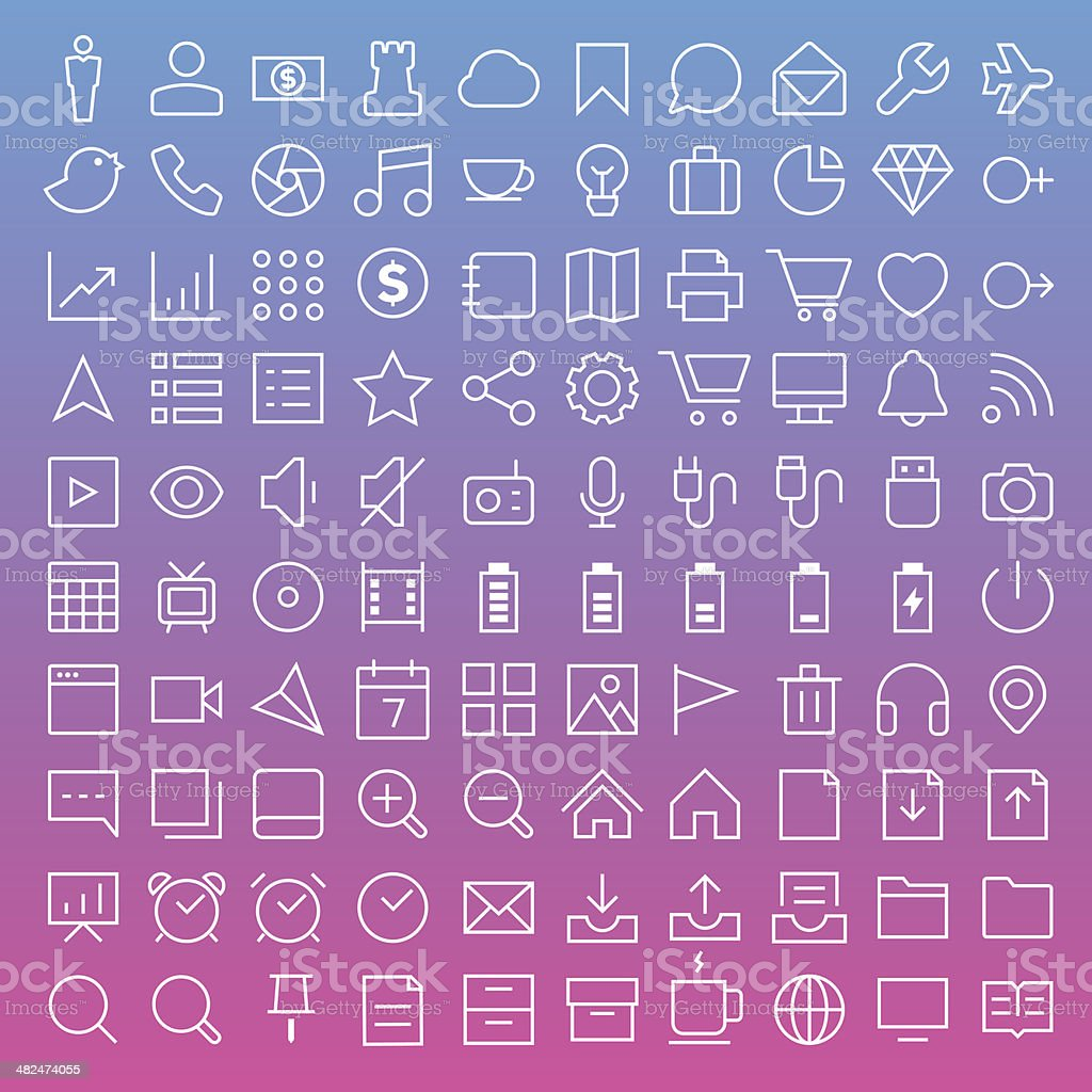 Thin Line Icons set vector art illustration