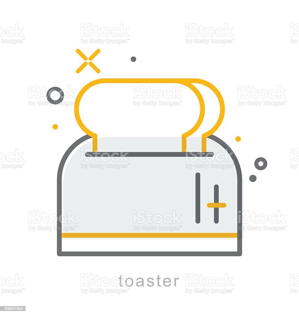 Thin line icons, Toaster vector art illustration