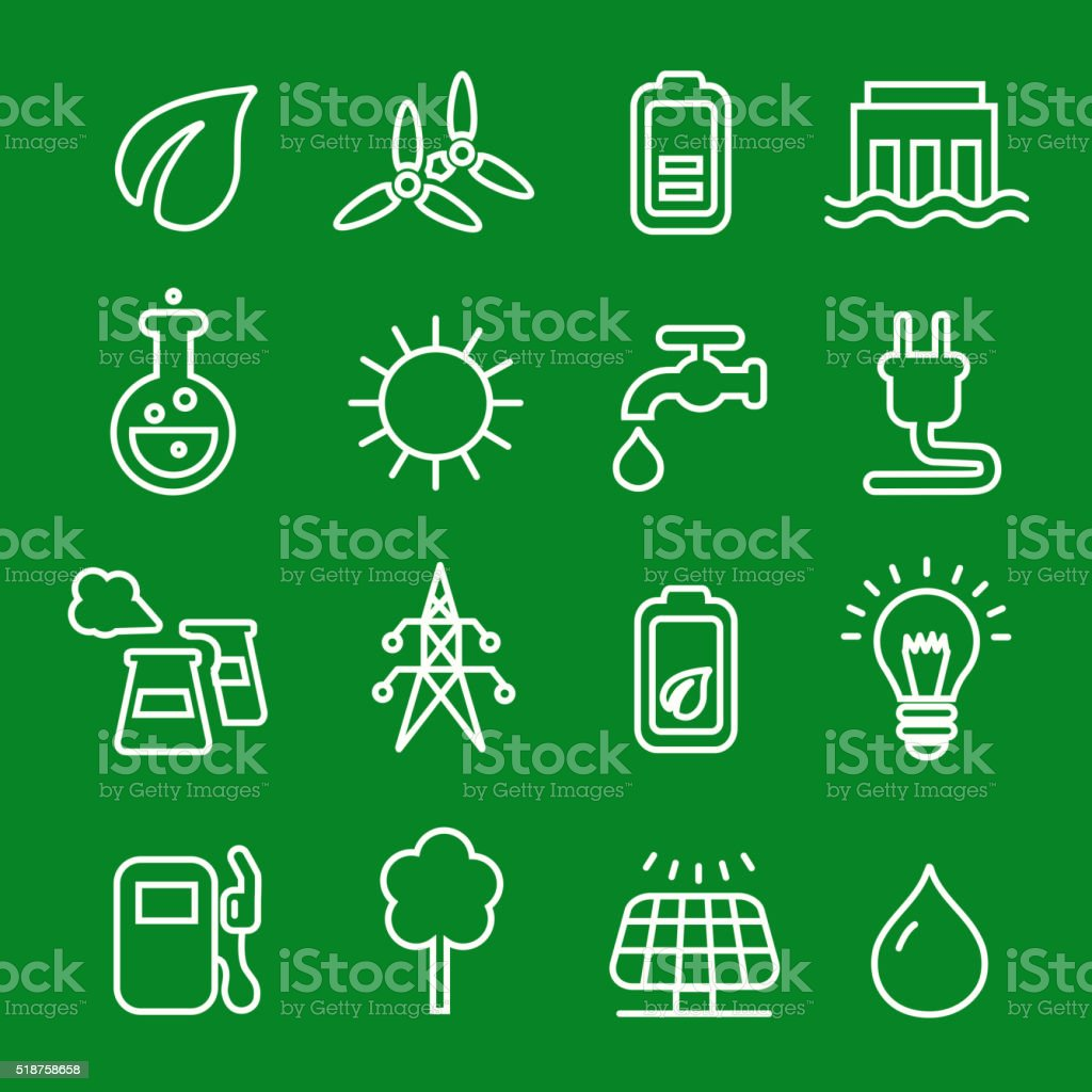 Thin line icons vector set of power natural renewable  energy, vector art illustration