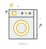 Thin line icons, Washer