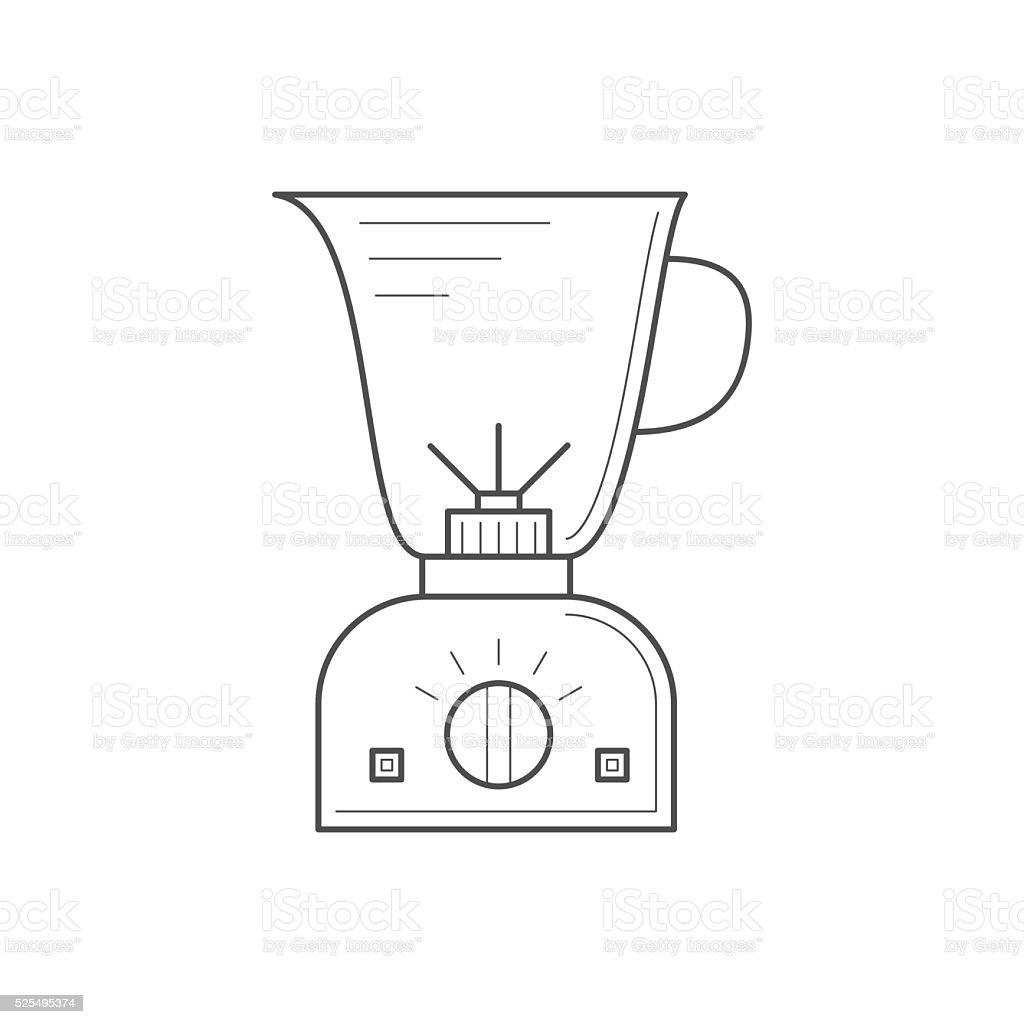 Thin line kitchen blender. vector art illustration