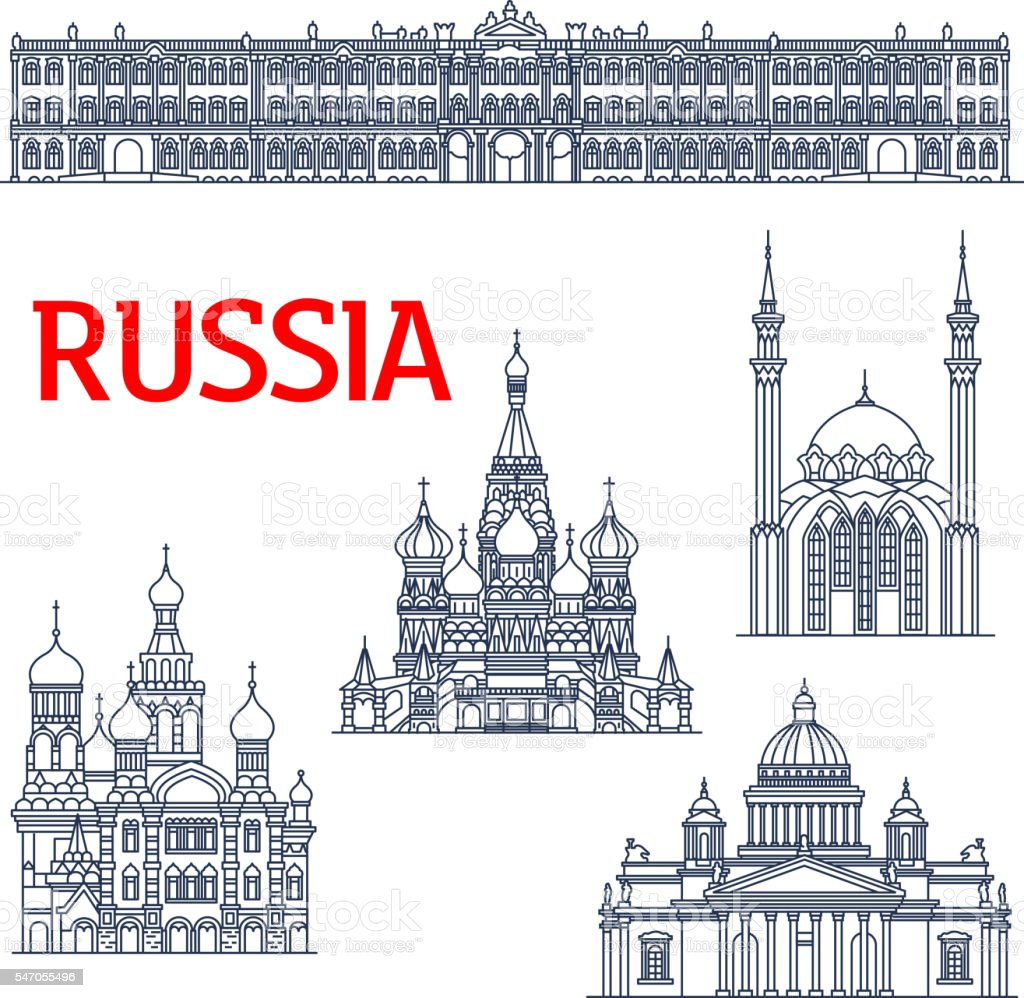 Thin line landmarks for tourism in Russia or USSR vector art illustration