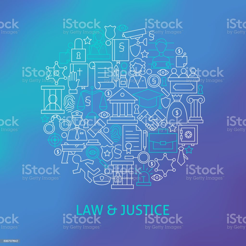 Thin Line Law and Justice Icons Set Circle Concept vector art illustration
