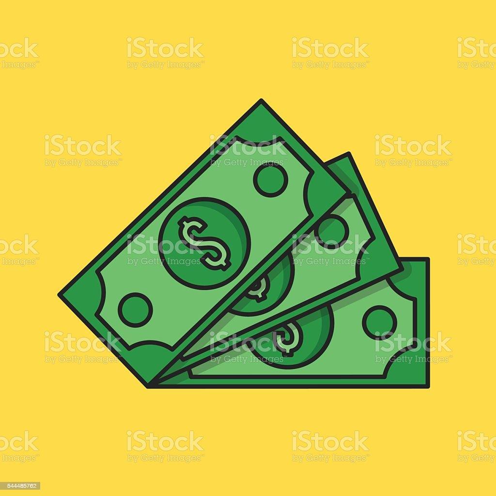 Thin line money icon. Three dollar banknotes. Flat vector illustration vector art illustration