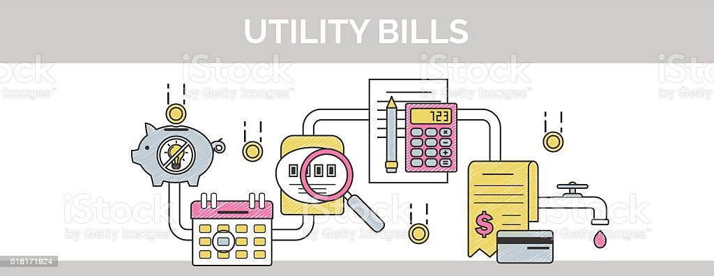 Thin line public utility, housing facilities, communal services scribble banner vector art illustration