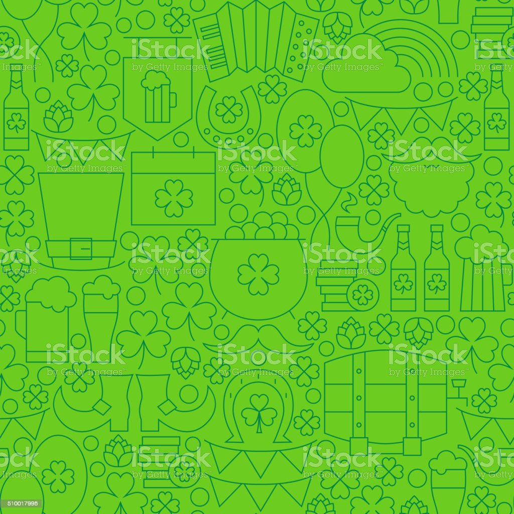 Thin Line Saint Patrick Day Seamless Green Pattern vector art illustration