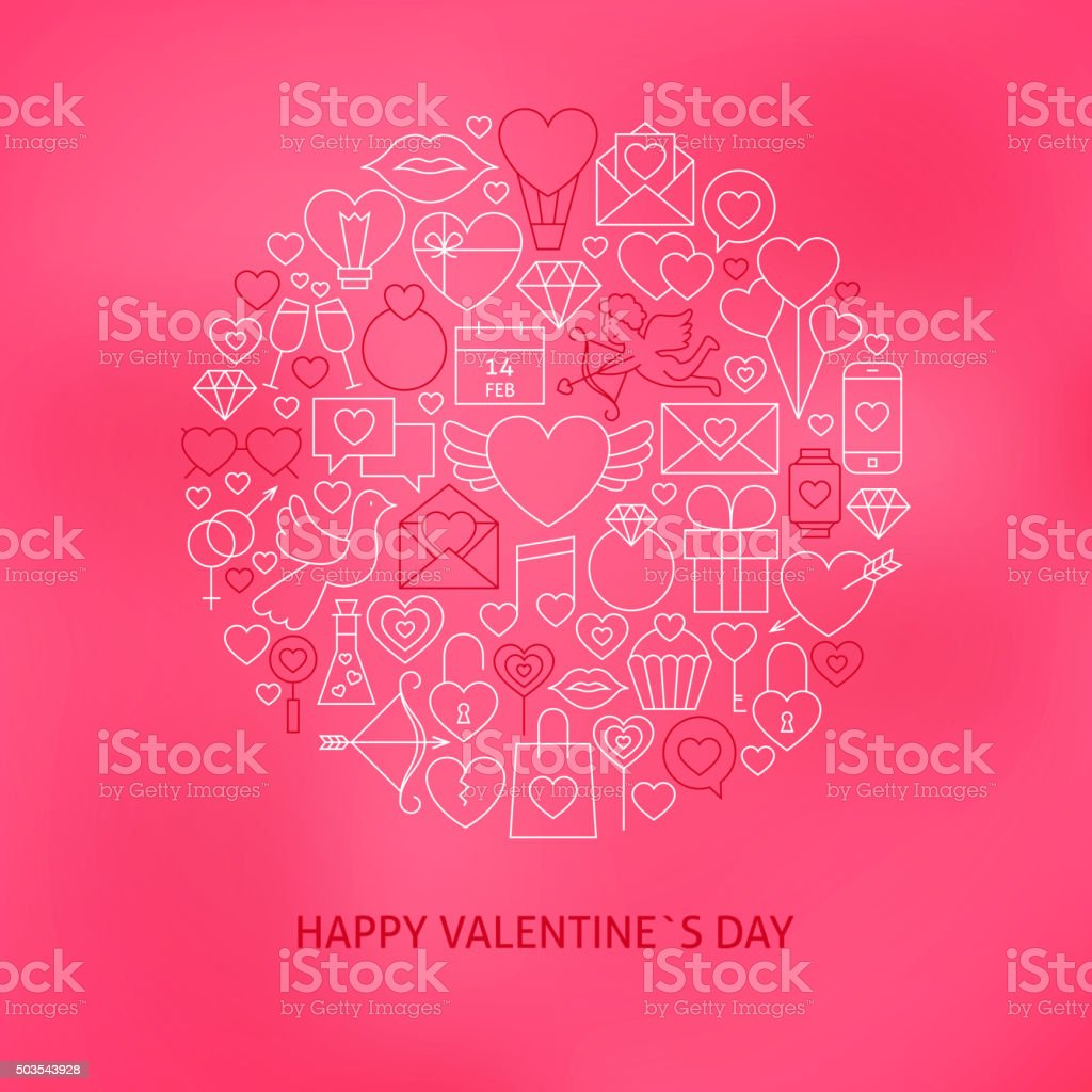 Thin Line Valentine Day Icons Set Circle Concept vector art illustration
